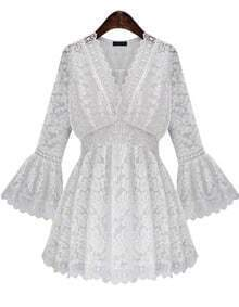 White V Neck Bell Sleeve Lace Dress
