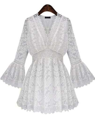 White V Neck Bell Sleeve Lace Dress