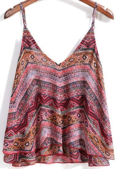 Red Spaghetti Strap Geometric Print Cami Top