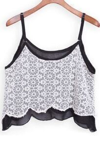 Black White Spaghetti Strap Lace Cami Top
