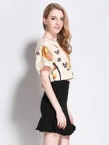White Floral Butterfly Print Crop Top With Ruffle Skirt
