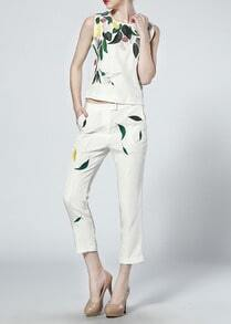 White Sleeveless Leaves Print Top With Pant