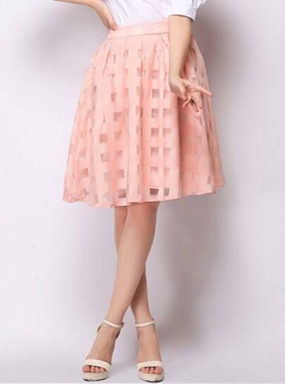 Pink Plaid Flare Skirt