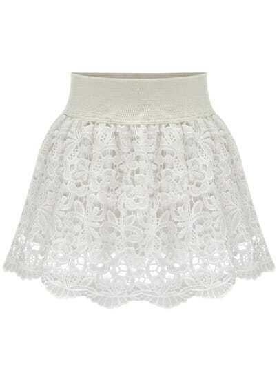 White Floral Crochet Lace Skirt