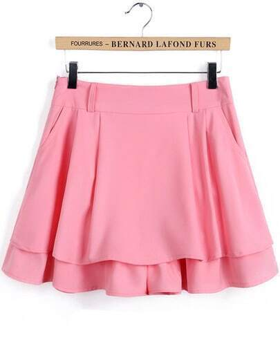 Pink Casual Pleated Skirt