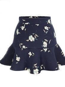 Navy High Waist Floral Ruffle Skirt