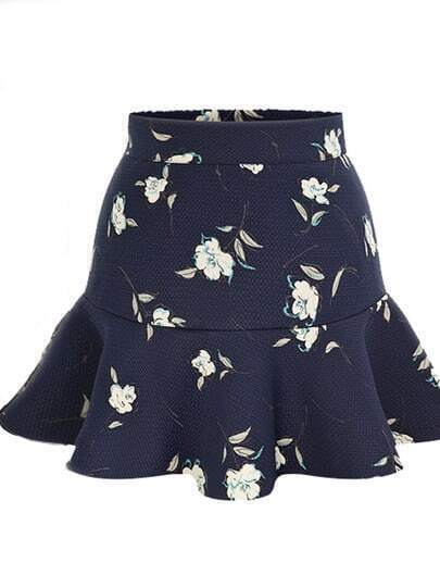 Navy High Waist Floral Ruffle Skirt