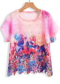 Multicolor Short Sleeve Hollow Floral Lace Blouse