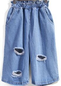 Blue Elastic Waist Ripped Wide Leg Pant