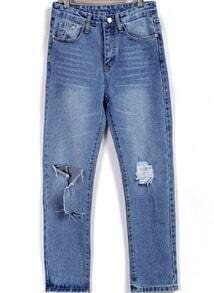 Blue Ripped Bleached Pockets Denim Pant
