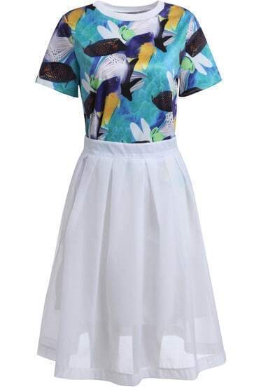 Multicolor Fish Print Top With White Skirt