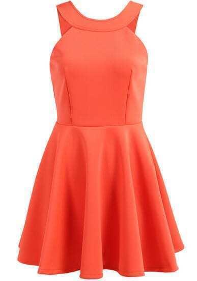 Orange Halter Sleeveless Pleated Flare Dress