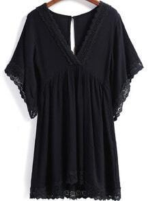 Black V Neck Short Sleeve Lace Trims Dress