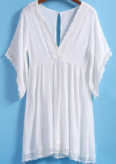 White V Neck Short Sleeve Lace Trims Dress