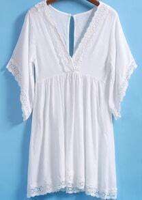White V Neck Short Sleeve Lace Trims Dress