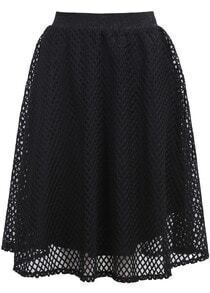 Black Hollow Grid Skirt