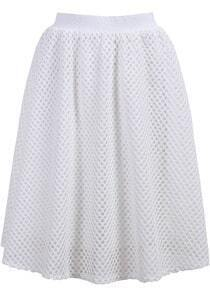 White Hollow Grid Skirt