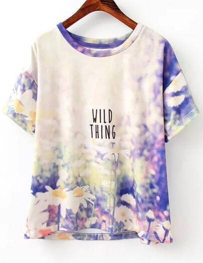 Purple Short Sleeve Daisy Print T-Shirt