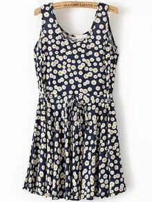 Navy Sleeveless Drawstring Waist Daisy Print Dress