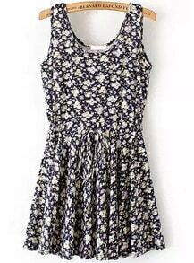 Black Sleeveless Drawstring Waist Floral Dress