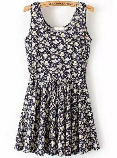 Black Sleeveless Drawstring Waist Floral Dress