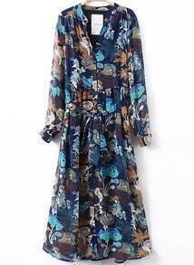 Blue Robe V Neck Tie-Waist Floral Dress