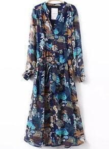 Blue Robe V Neck Tie-Waist Floral Dress
