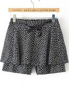 Black Polka Dot Skirt Shorts