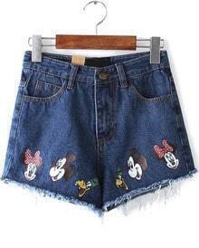 Navy Ripped Fringe Mickey Print Denim Shorts