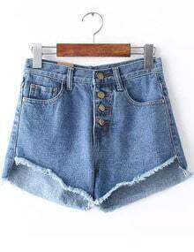 Blue Buttons Pockets Fringe Denim Shorts