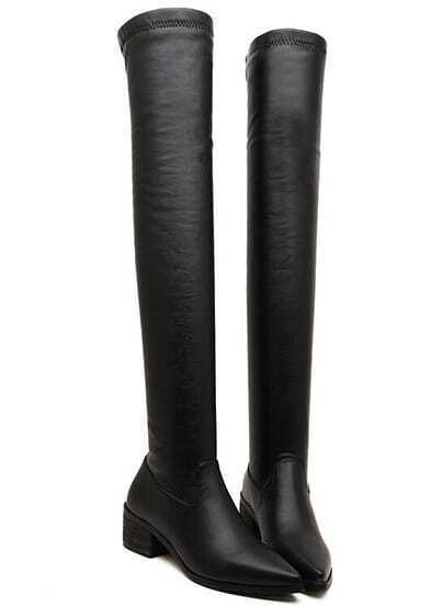 Black Point Toe Side Zipper Knee Boots