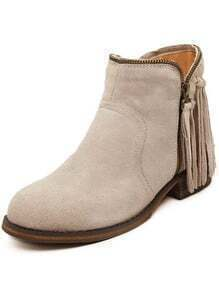 Beige With Tassel Zipper Boots