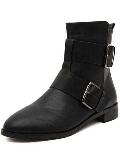 Black Buckle Strap Flat Boots