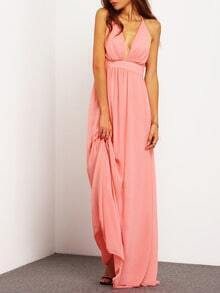Pink Spaghetti Strap Backless Elegance Maxi Dress