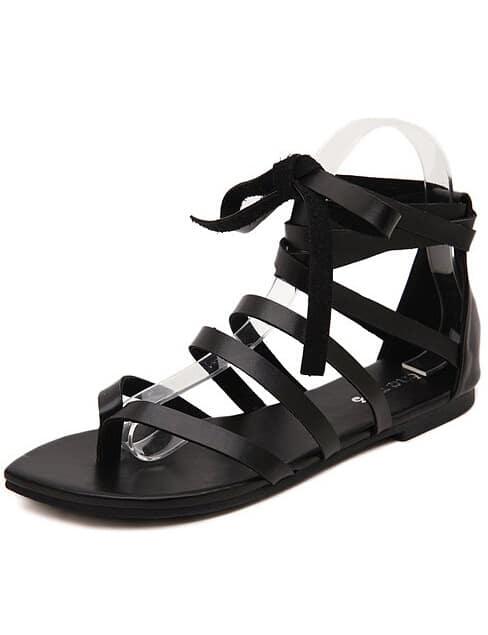 flache sandalen mit schn rung schwarz german shein sheinside. Black Bedroom Furniture Sets. Home Design Ideas