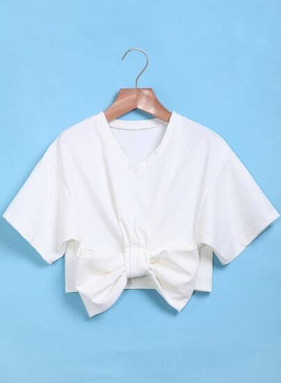 White With Bow Short Sleeve Crop Top