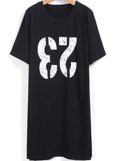Black Number Print Long T-Shirt