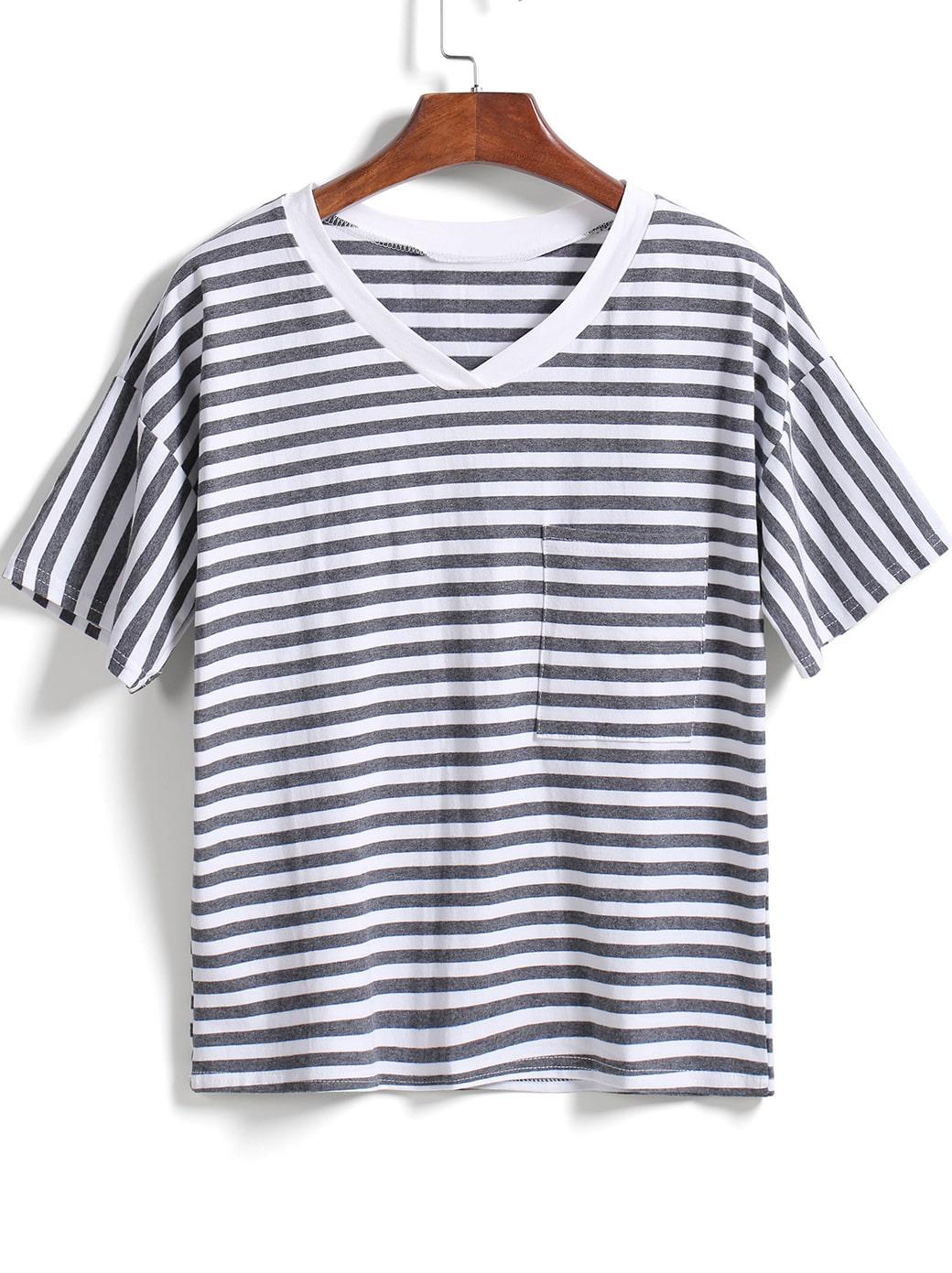 Grey v neck striped with pocket t shirt shein sheinside Grey striped t shirt