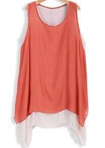 Orange Sleeveless Double Layers Loose Dress