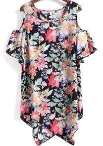 Multicolor Off The Shoulder Florals Asymmetrical Hem Dress