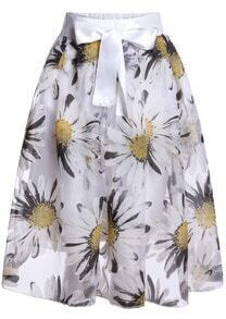 White Elastic Waist Sunflower Print Pleated Skirt