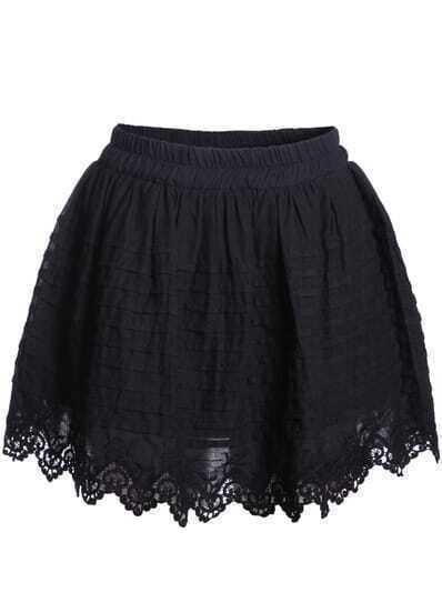 Black Lace Hem Flare Skirt