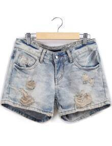 Pale Blue Ripped Denim Shorts