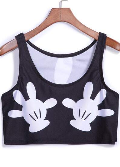 Black Casual Print Crop Tank Top