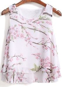 White Plum Blossom Print Double Layels Tank Top