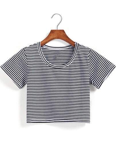 Black White Short Sleeve Striped Crop T-Shirt