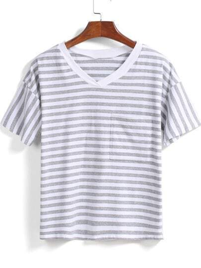 Grey White V Neck Striped Loose T-Shirt