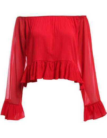 Red Boat Neck Sheer Mesh Ruffle Blouse