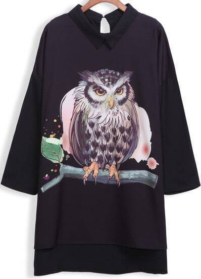Black Long Sleeve Owl Print Dip Hem Blouse