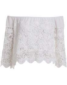White Boat Neck Hollow Lace Crop Blouse